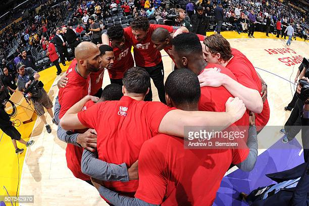 The Chicago Bulls huddles up before the game against the Los Angeles Lakers on January 28 2016 at STAPLES Center in Los Angeles California NOTE TO...