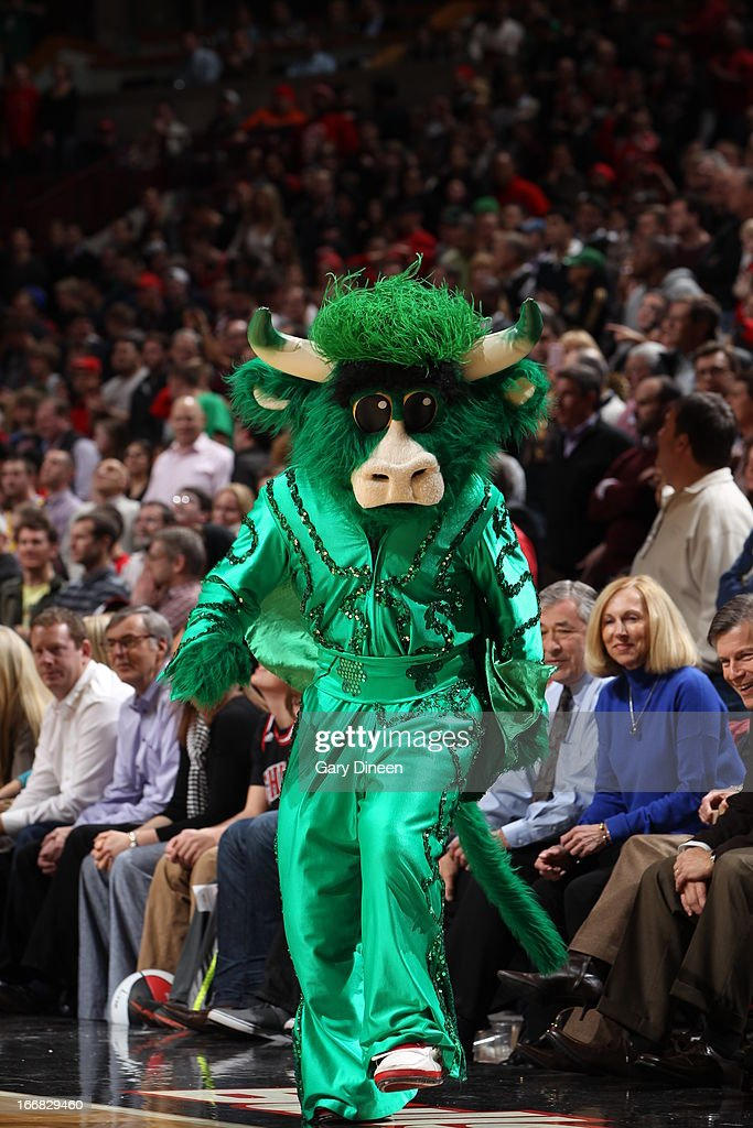 The Chicago Bulls mascot, 'Benny the Bull,' entertains the crowd during the game against the Denver Nuggets on March 18, 2013 at the United Center in Chicago, Illinois.