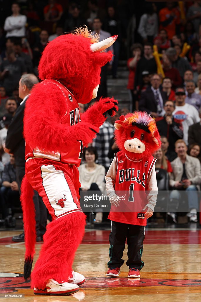 The Chicago Bulls mascot performs during the game against the New York Knicks on April 11, 2013 at the United Center in Chicago, Illinois.