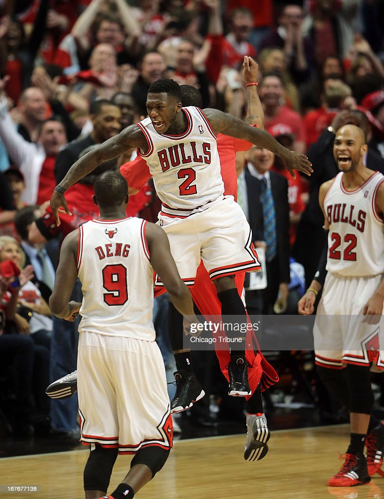 The Chicago Bulls' Nate Robinson (2) celebrates his shot to give the Bulls the lead in the final seconds of the first overtime against the Brooklyn Nets on Saturday, April 27, 2013, in Game 4 of the Eastern Conference Playoffs first-round series at the United Center in Chicago, Illinois. Chicago won in triple overtime, 142-134.