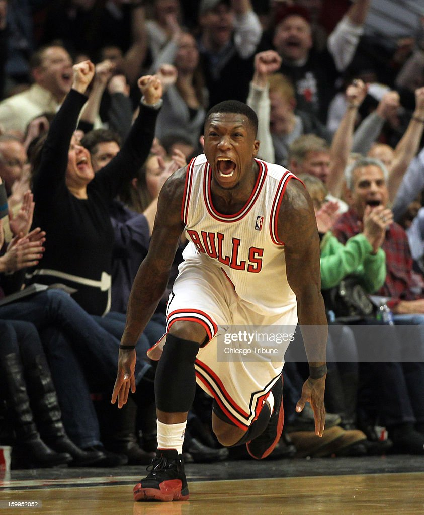 The Chicago Bulls' Nate Robinson reacts to a fourth quarter 3-pointer during an 85-82 win over the Detroit Pistons at the United Center in Chicago, Illinois, Wednesday, January 23, 2013.