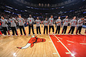 The Chicago Bulls stand for the national anthem prior to the game against the Boston Celtics on November 08 2014 at the United Center in Chicago...