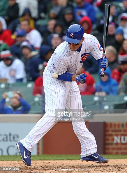 The Chicago Cubs' Anthony Rizzo is hit by a pitch from the St Louis Cardinals' Lance Lynn in the seventh inning at Wrigley Field in Chicago on...