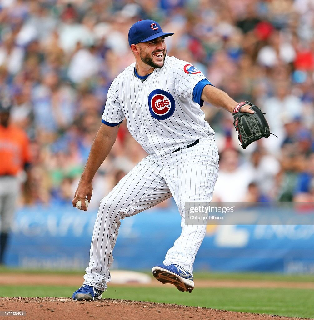 The Chicago Cubs' Blake Parker pitches against the Houston Astros in the eighth inning at Wrigley Field in Chicago, Illinois, on Saturday, June 22, 2013. Houston won, 4-3.