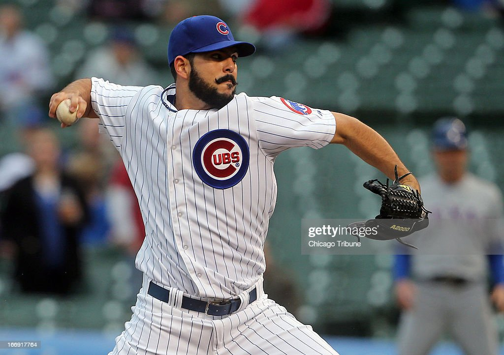 The Chicago Cubs' Carlos Villanueva pitches against the Texas Rangers in the first inning on Thursday, April 18, 2013, at Wrigley Field in Chicago, Illinois. The Cubs won, 6-2.