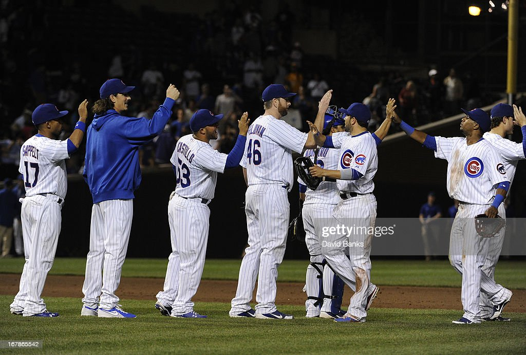 The Chicago Cubs celebrate a win against the San Diego Padres on May 1, 2013 at Wrigley Field in Chicago, Illinois. The Chicago Cubs defeated the San Diego Padres 6-2.