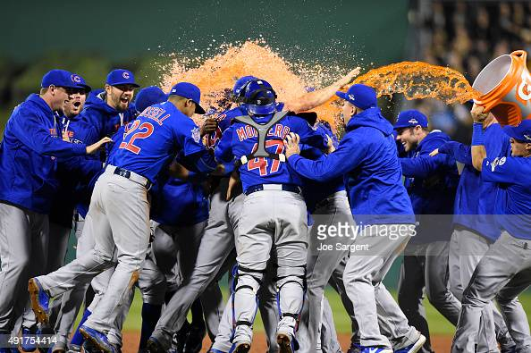 The Chicago Cubs celebrate after defeating the Pittsburgh Pirates 40 in the National League Wild Card Game on Wednesday October 7 2015 at PNC Park in...