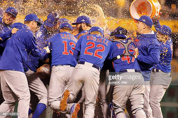 The Chicago Cubs celebrate after defeating the Pittsburgh Pirates to win the National League Wild Card game at PNC Park on October 7 2015 in...