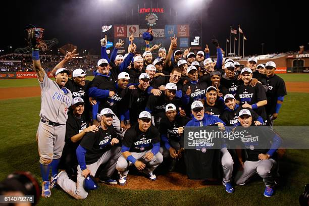 The Chicago Cubs celebrate after defeating the San Francisco Giants 65 in Game Four of their National League Division Series to advance to the...