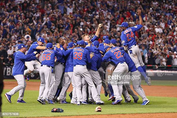 The Chicago Cubs celebrate after winning game 7 of the 2016 World Series against the Chicago Cubs and the Cleveland Indians at Progressive Field in...