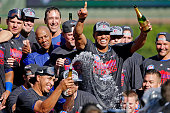 The Chicago Cubs celebrate clinching their Wildcard position after their game against the Pittsburgh Pirates at Wrigley Field on September 26 2015 in...
