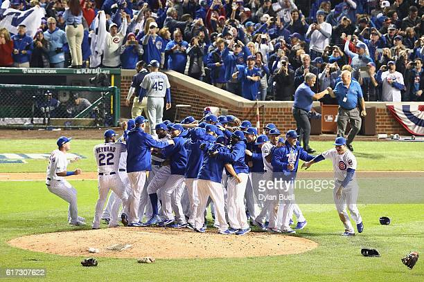 The Chicago Cubs celebrate defeating the Los Angeles Dodgers 50 in game six of the National League Championship Series to advance to the World Series...