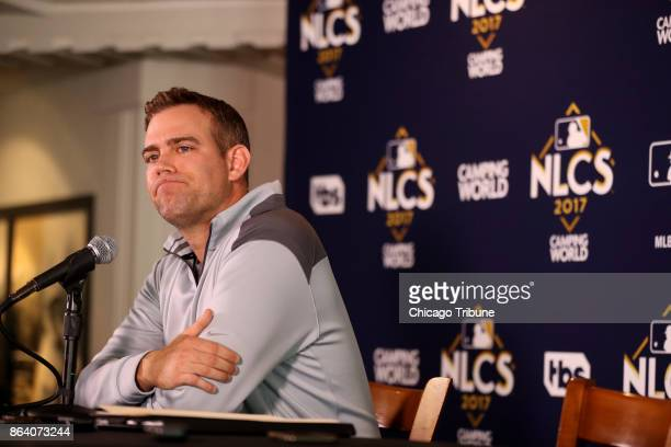 The Chicago Cubs' President of Baseball Operations Theo Epstein addresses the media at Wrigley Field in Chicago on Friday Oct 20 2017 The Cubs were...