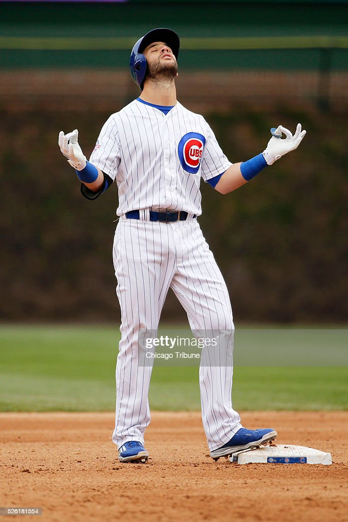 The Chicago Cubs' Tommy La Stella doubles in the eighth inning against the Atlanta Braves at Wrigley Field in Chicago on Friday, April 29, 2016. The Cubs won, 6-1.