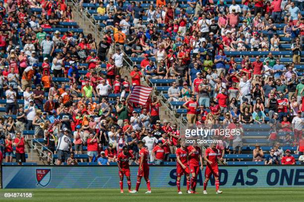 The Chicago Fire celebrate a Chicago Fire forward Luis Solignac goal in the first half during an MLS soccer match between Atlanta United FC and the...