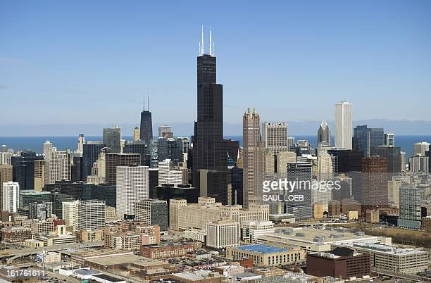 The Chicago Illinois downtown skyline including the Willis Tower formerly known as the Sears Tower is seen from the air February 15 2013 AFP PHOTO /...