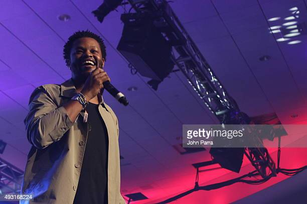 BJ the Chicago Kid performs at the closing gala of the 2015 Revolt Music Conference at Fontainebleau Miami Beach on October 16 2015 in Miami Beach...