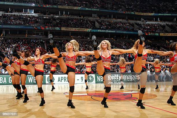 The Chicago Luvabulls dance team performs during the game between the Cleveland Cavaliers and the Chicago Bulls at United Center on April 8 2010 in...