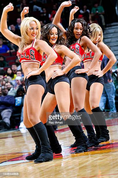The Chicago Luvabulls dancers perform during a game between the Memphis Grizzlies and Chicago Bulls on October 9 2012 at the United Center in Chicago...