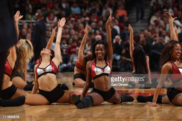 The Chicago Luvabulls perform during a timeout in the game between the Chicago Bulls and the Boston Celtics on April 7 2011 at the United Center in...