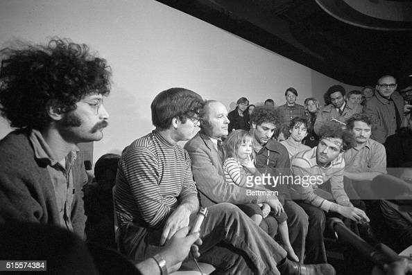 The Chicago Seven hold a press conference during their trial they are accused of inciting riots at the 1968 Democratic National Convention From left...