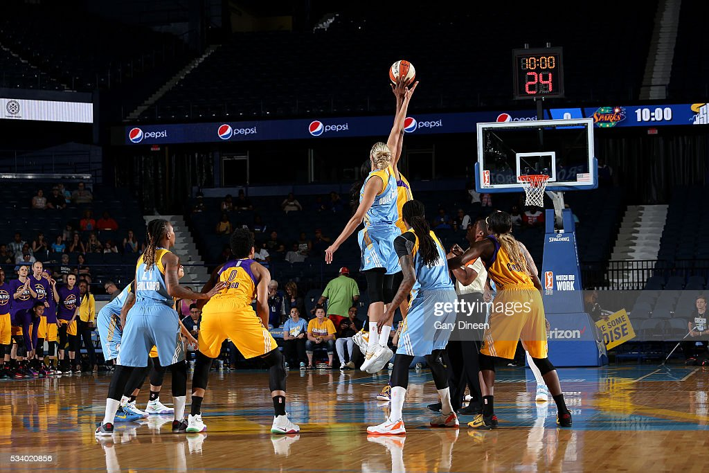 The Chicago Sky goes for the jump ball against the Los Angeles Sparks during the game on May 24, 2016 at the Allstate Arena in Chicago, Illinois.