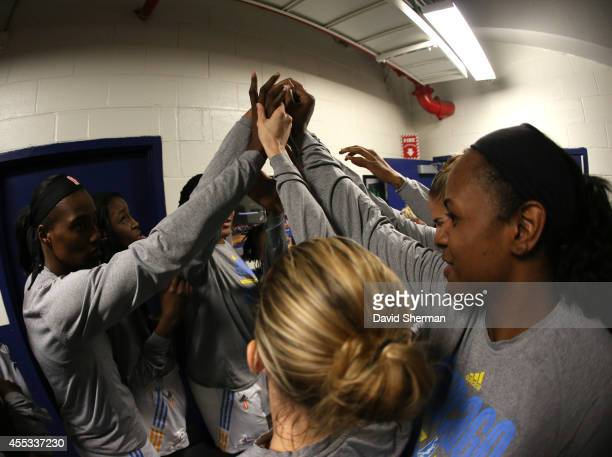 The Chicago Sky huddle prior to Game Three of the 2014 WNBA Finals on September 12 2014 at the UIC Pavilion in Chicago Illinois NOTE TO USER User...