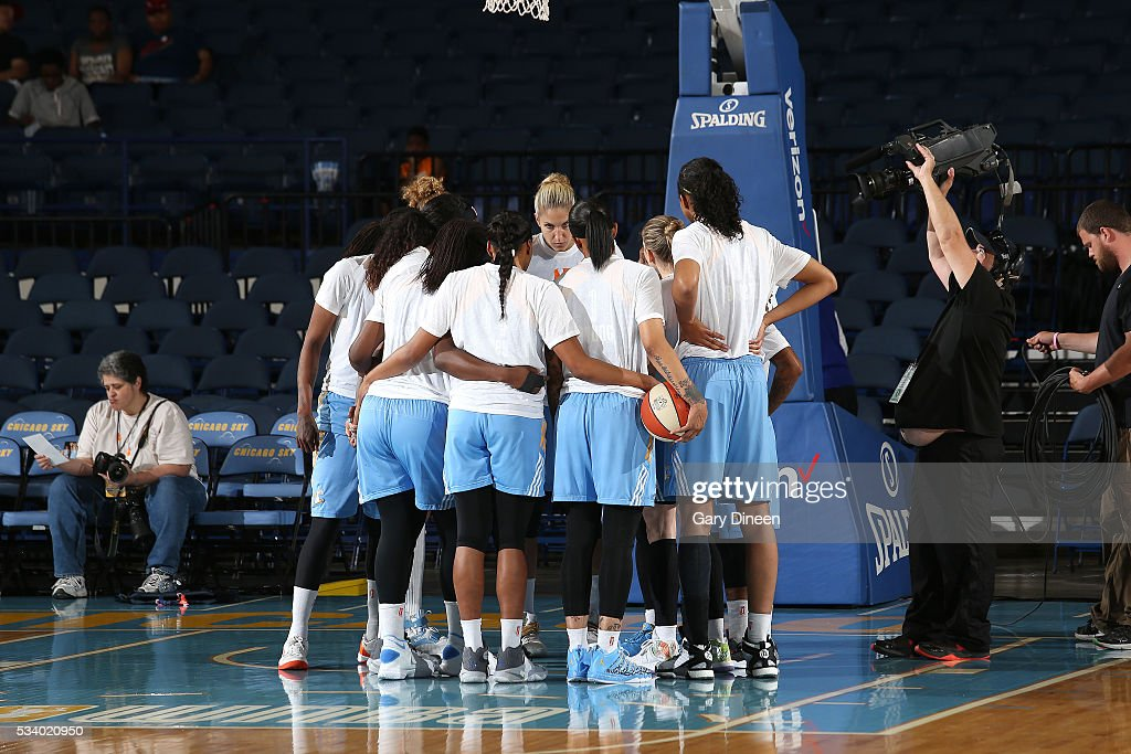 The Chicago Sky huddle up before the game against the Los Angeles Sparks on May 24, 2016 at the Allstate Arena in Chicago, Illinois.