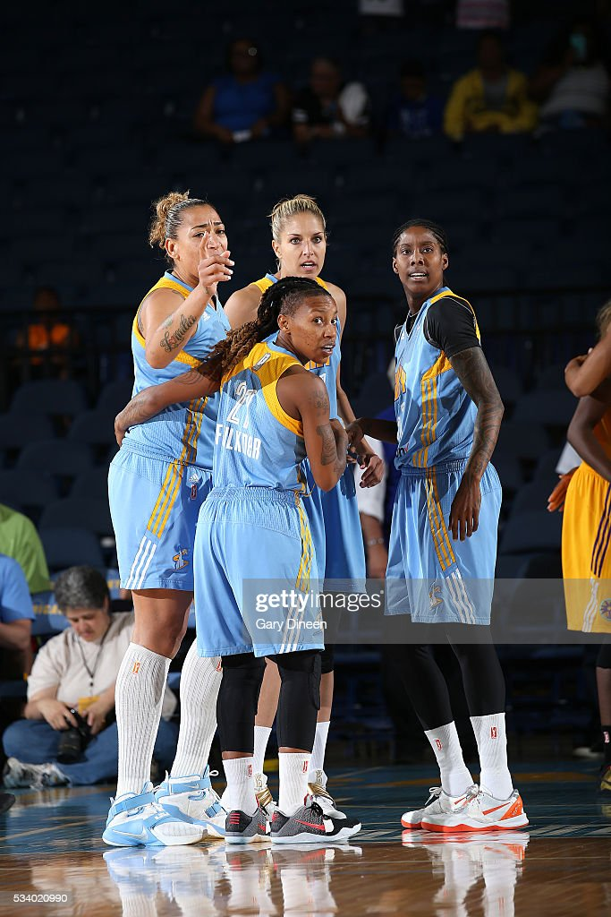 The Chicago Sky huddle up during the game against the Los Angeles Sparks on May 24, 2016 at the Allstate Arena in Chicago, Illinois.