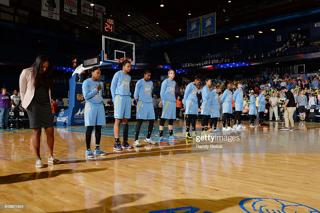 The Chicago Sky stand for the National Anthem before the game against the Indiana Fever on June 29, 2016 at Allstate Arena in Rosemont, IL.