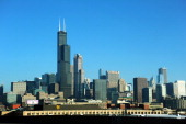 The Chicago skyline is seen from I90 December 24 2011 in Chicago Illinois Traffic around the Windy City was very light on the morning before...