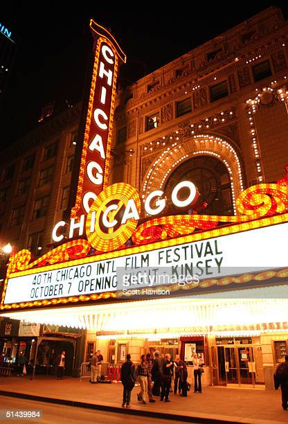 The Chicago Theater home of the Chicago International Film Festival is seen during the screening of the film 'Kinsey' October 7 2004 in Chicago...