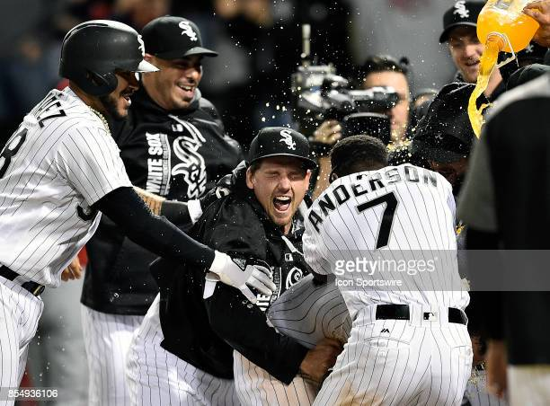The Chicago White Sox celebrate after Chicago White Sox's Nicky Delmonico hit a walk off two run home run to win against the Los Angeles Angels on...