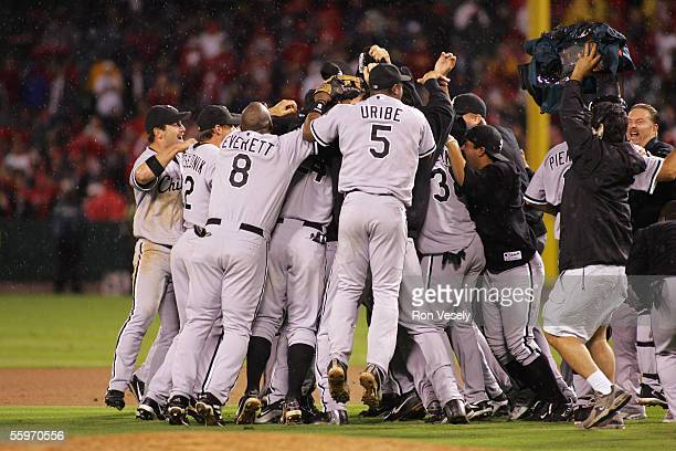 The Chicago White Sox celebrate after Game 5 of the American League Championship Series against the Los Angeles Angels of Anaheim at Angel Stadium on...