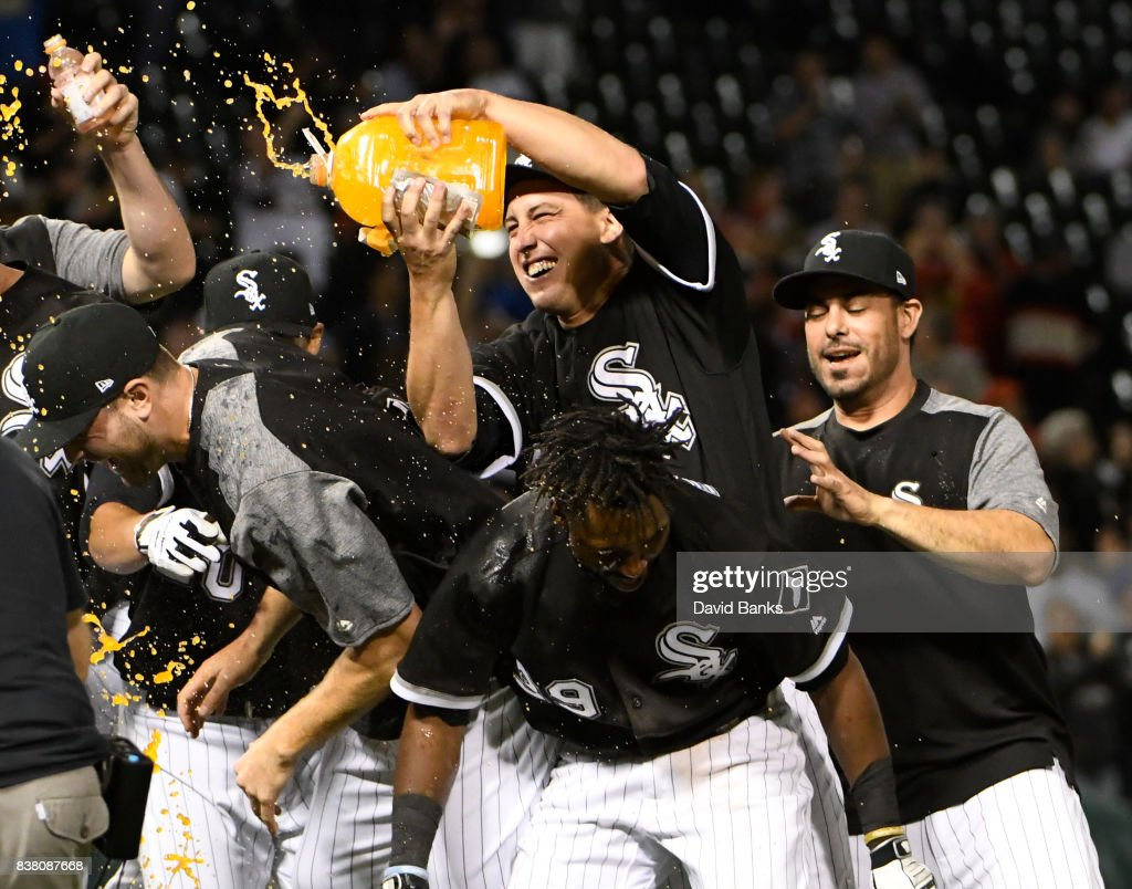 The Chicago White Sox celebrate their walk-off win against the Minnesota Twins on August 23, 2017 at Guaranteed Rate Field in Chicago, Illinois. The White Sox won 4-3.
