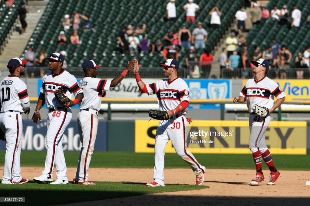 The Chicago White Sox celebrate their win against the Kansas City Royals on September 24, 2017 at Guaranteed Rate Field in Chicago, Illinois. the White Sox defeated the Royals 8-1.