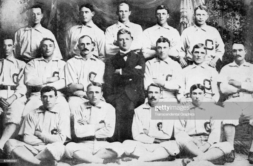 The Chicago White Sox in their first year of existence included owner Charles Comiskey seated in street clothes and Dummy Hoy seated front row second...