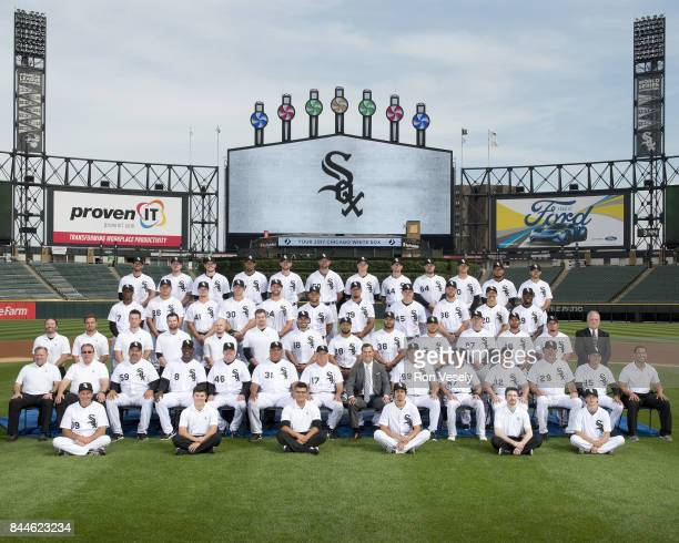 The Chicago White Sox pose for their 2017 official team photo on August 9 2106 at Guaranteed Rate Field in Chicago Illinois FIRST ROW Batboys SECOND...