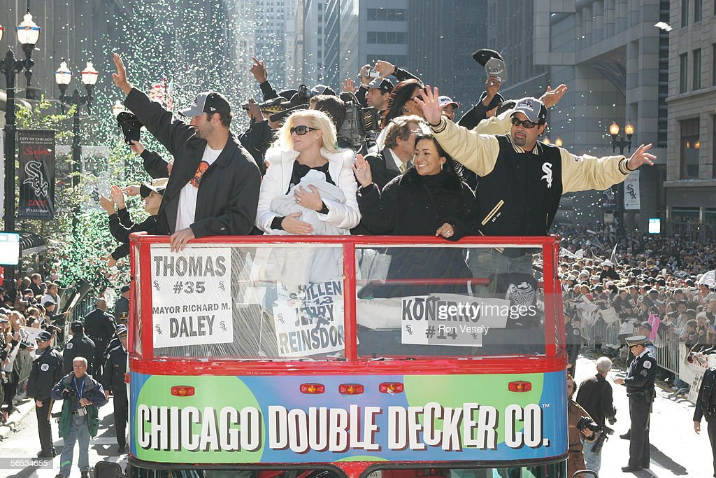The Chicago White Sox ride in a motorcade through Chicago neighborhoods and down LaSalle street in a ticker tape parade after winning the 2005 World...