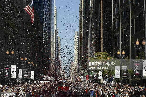 The Chicago White Sox Victory Parade is showered with confetti as Chicago salutes the White Sox on winning their 1st World Series Championship since...