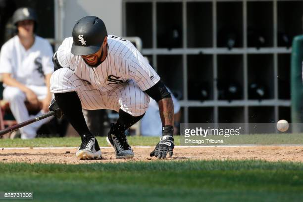 The Chicago White Sox's Leury Garcia fouls a ball off of his foot in the eighth inning against the Toronto Blue Jays at Guaranteed Rate Field in...