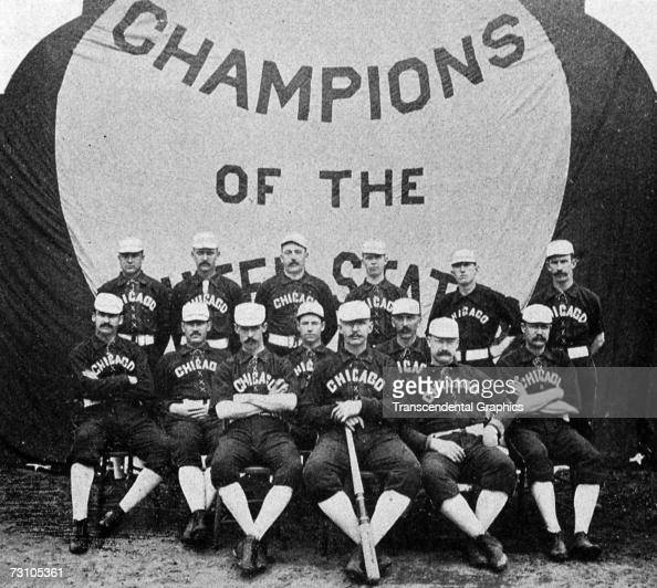 The Chicago White Stockings team pose for a team portrait in 1886 Cap Anson front John Clarkson front row third from left King Kelly front row far...