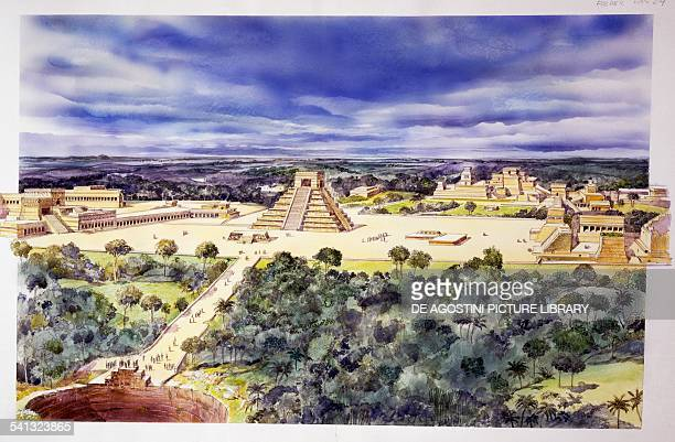The Chichen Itza complex drawing Mexico Mayan civilisation 5th century BC15th century AD