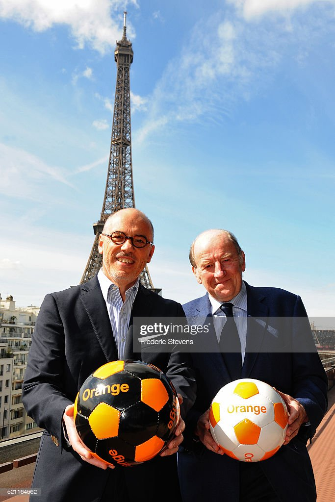 The Chief Executive and Chairman of mobile phone network Orange, Stephane Richard (L) and Chairman of EURO 2016 <a gi-track='captionPersonalityLinkClicked' href=/galleries/search?phrase=Jacques+Lambert&family=editorial&specificpeople=5567008 ng-click='$event.stopPropagation()'>Jacques Lambert</a> (R) pose for a photo before the press conference of Orange's UEFA EURO 2016 sponsorship campaign on April 14, 2016 in Paris, France. Twenty-four nations are taking part in the EURO 2016 Championships that is taking place in France and starts on June 10.