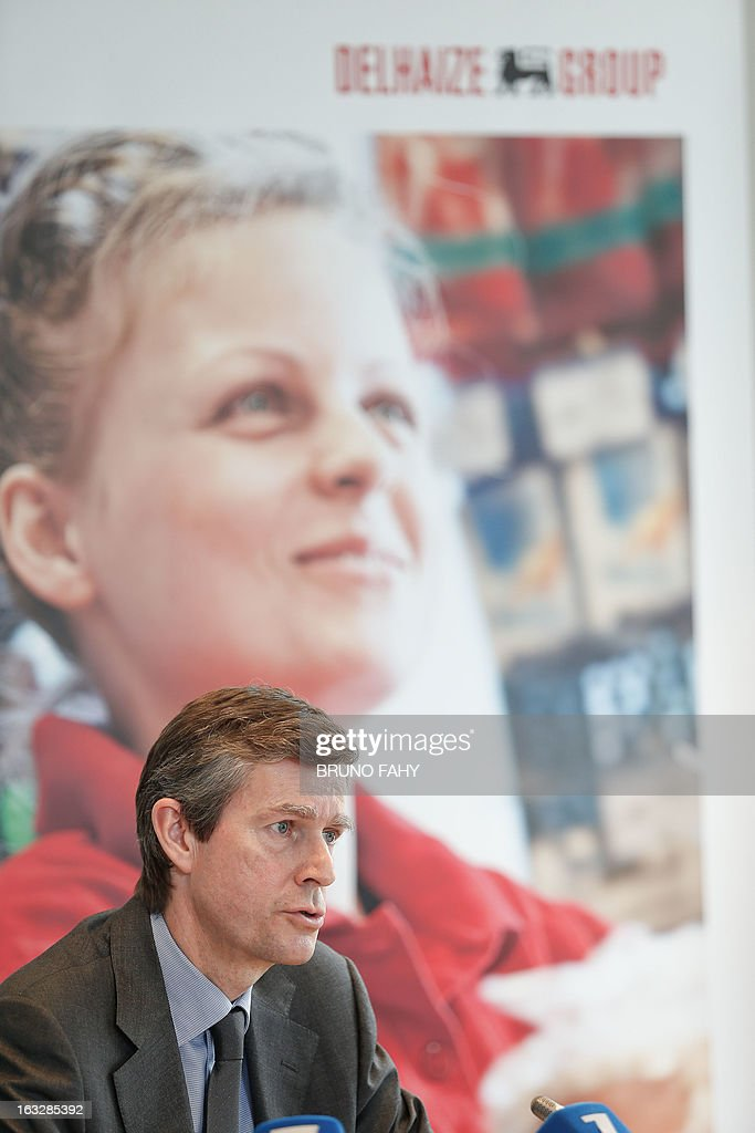 The chief executive officer of the Belgian retail group Delhaize, Pierre-Olivier Beckers, gives a press conference on March 7, 2013 in Brussels to present 2012 results. AFP PHOTO / BELGA / BRUNO FAHY - BELGIUM OUT -