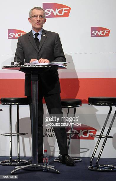 The chief executive officer of the French railway operator SNCF Guillaume Pepy gives a press conference on March 11 2009 in Paris to announce annual...