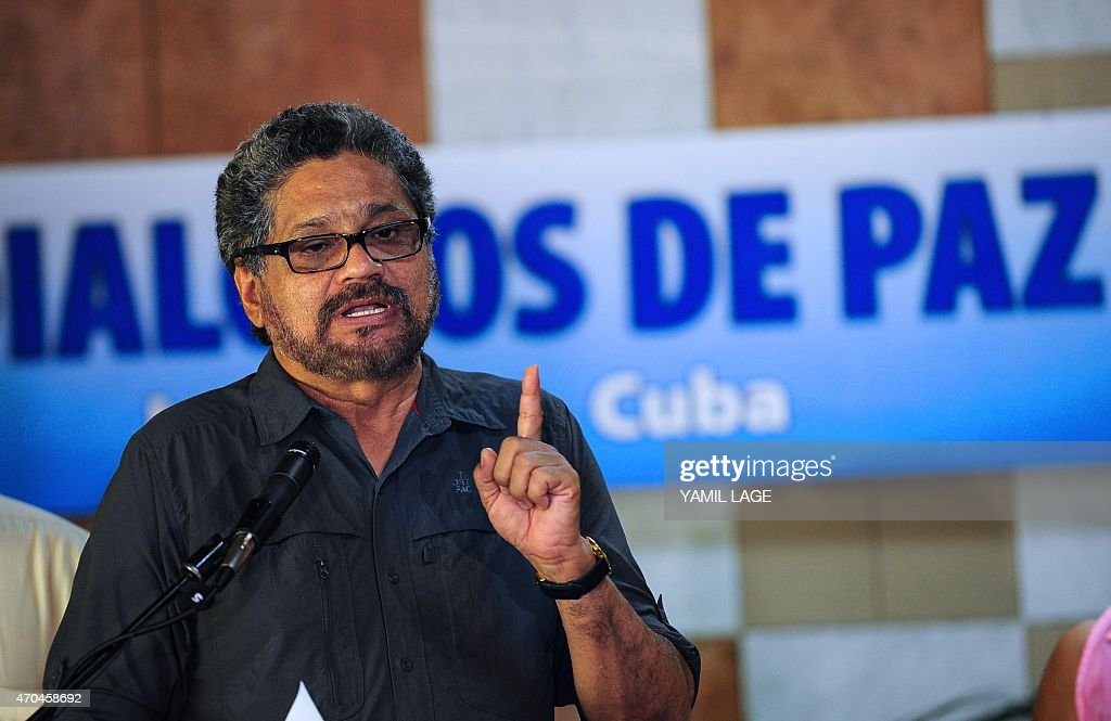 The chief negotiator of the FARC-EP leftist guerrilla delegation, commander <a gi-track='captionPersonalityLinkClicked' href=/galleries/search?phrase=Ivan+Marquez&family=editorial&specificpeople=3130511 ng-click='$event.stopPropagation()'>Ivan Marquez</a>, speaks during a press conference at the end of the 35th cycle of the peace talk between the Colombian government and the Revolutionary Armed Forces of Colombia, at Convention Palace in Havana, on April 20, 2015. Colombia's leftist FARC guerrillas said Monday they will maintain their unilateral ceasefire despite a recent clash with the army, except if their fighters come under siege. The two-year-old peace process suffered a setback last week when the rebels killed 11 soldiers in what the army called an unprovoked attack. AFP PHOTO / Yamil LAGE
