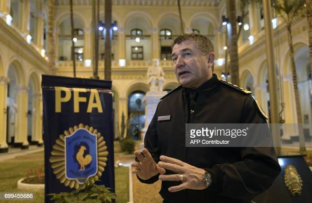 The chief of Argentina's Federal Police Captain Nestor Roncaglia talks with AFP in the courtyard of the police headquarters in Buenos Aires on June...