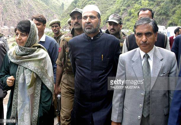 The chief of Indian administered Kashmir's ruling Peoples Democratic Party Mehbooba Mufti and senior ministers and PDP leaders Muzaffar Hussain Beigh...
