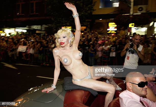 The chief of parade transsexual Amanda Lepore leads the parade during the annual Sydney Gay and Lesbian Mardi Gras Parade on Oxford Street on...